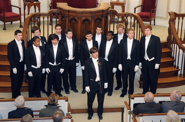 Image: The Whiffenpoofs perform at the First Congregational church