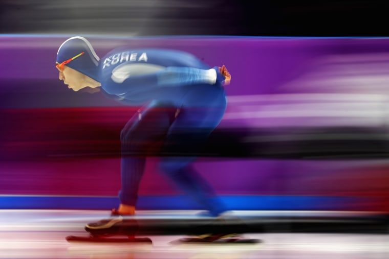 Seung-Hoon Lee of South Korea competes in the men's 5,000 meter speed skating event on day two, Feb. 11.