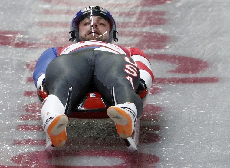 Chris Mazdzer of the U.S. participates in the men's singles Luge competition on Feb. 10.
