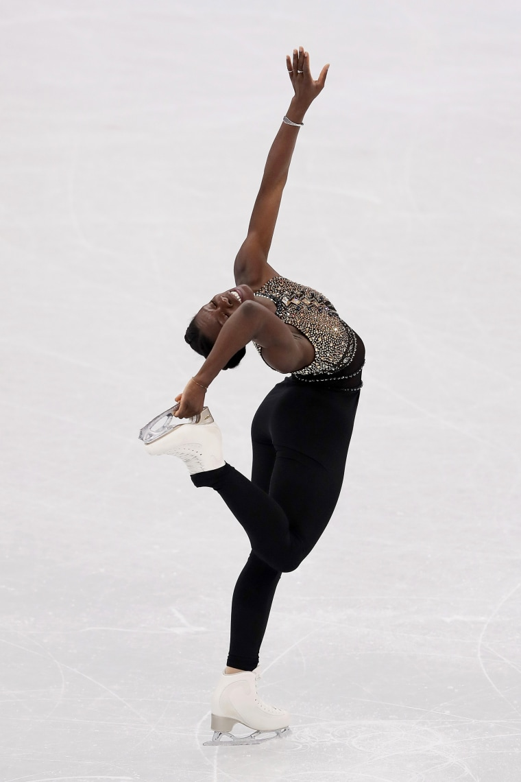 Mae Berenice Meite of France competes in the figure skating team event women's short program on Feb. 11.