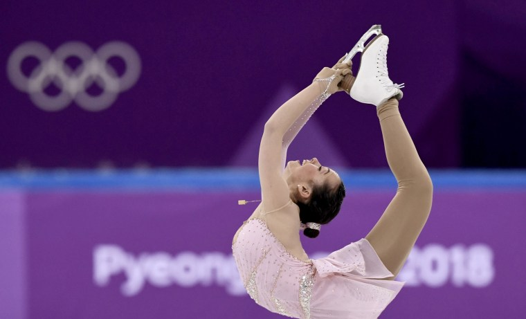 Israel's Aimee Buchanan competes in the figure skating team event women's single skating on Feb. 11.