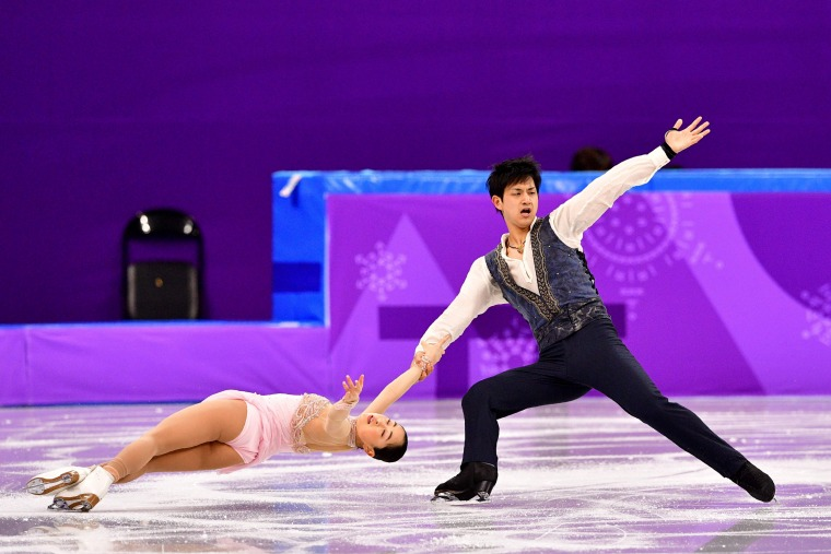 Japan's Miu Suzaki and Ryuichi Kihara compete in the figure skating team event pair skating free skating on Feb.11.