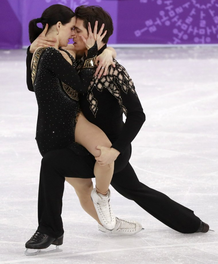 Tessa Virtue and Scott Moir of Canada compete in the ice dance short dance of the figure skating team event competition on Feb. 11.