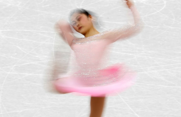 Satoko Miyahara of Japan competes in the team event women's single skating short program competition on Feb. 11.