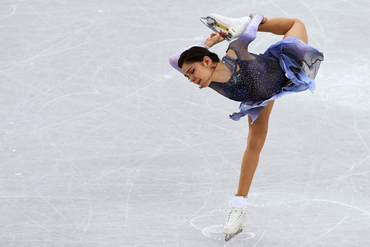 Russia's Evgenia Medvedeva competes in the figure skating team event women's single skating short program at the Gangneung Ice Arena on Feb. 11.
