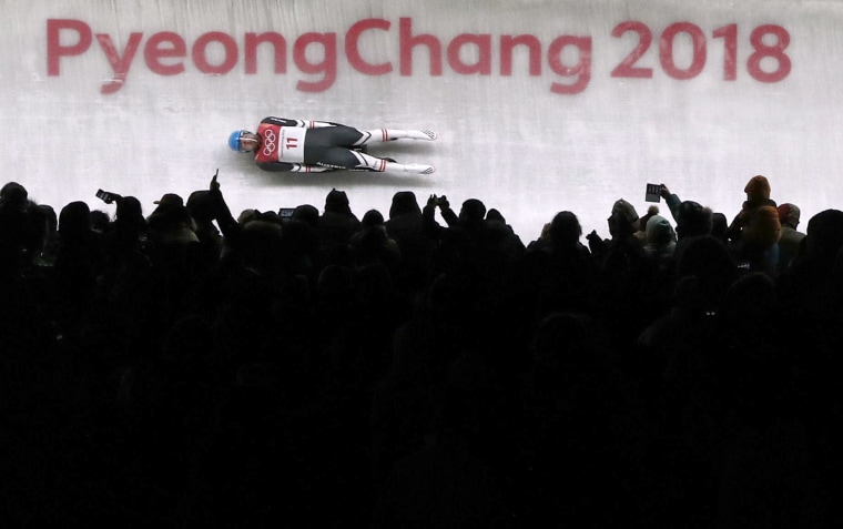 David Gleirscher of Austria participates in the men's singles Luge competition at the Olympic Sliding Centre on Feb. 11.