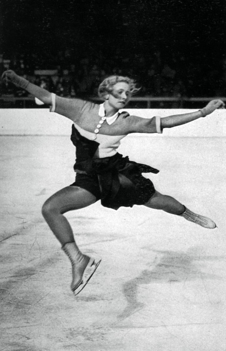 Czech figure skater Vera Hrub? skates at the Winter Olympic Games, in Garmisch-Partenkirchen, Germany, in 1936. Hems started rising and sleeves got shorter.