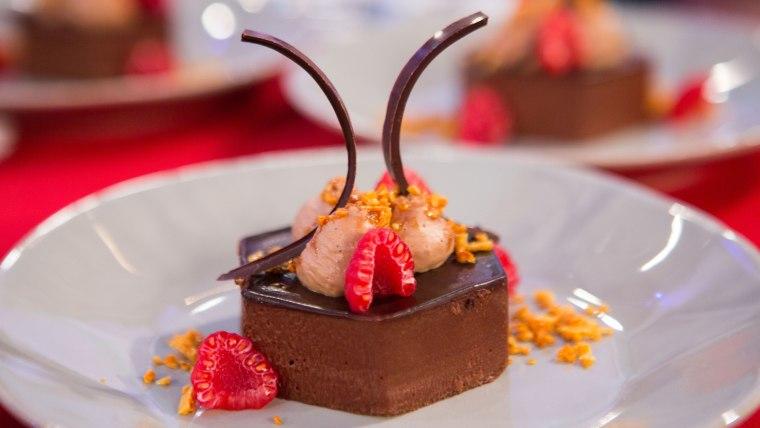 Scott Conant's Chocolate Mousse with Honey Comb and Caramelia Cream
