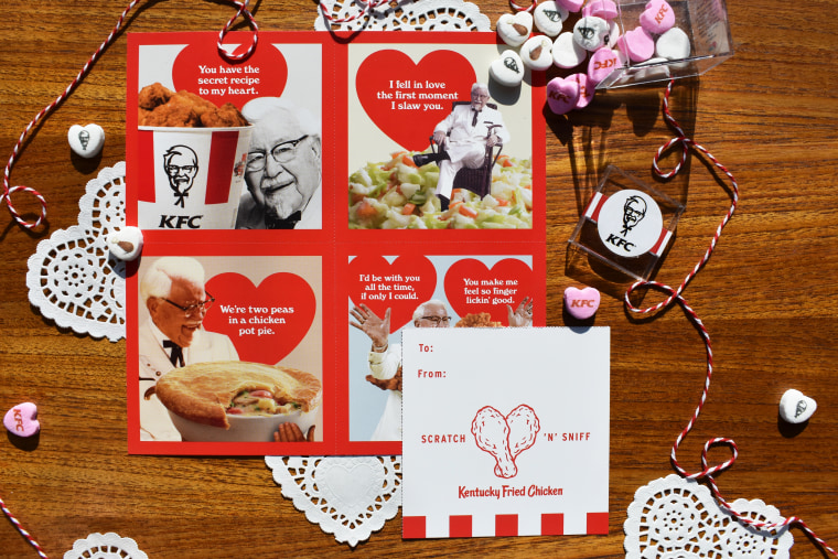 KFC launches chicken-scented scratch n' sniff Valentine's Day cards Feb. 12.