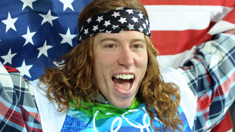 USA's gold medalist Shaun White celebrates after the men's Snowboard Halfpipe final run 2 on February 17, 2010 at Cypress Mountain, north of Vancouver during the Vancouver Winter Olympics.