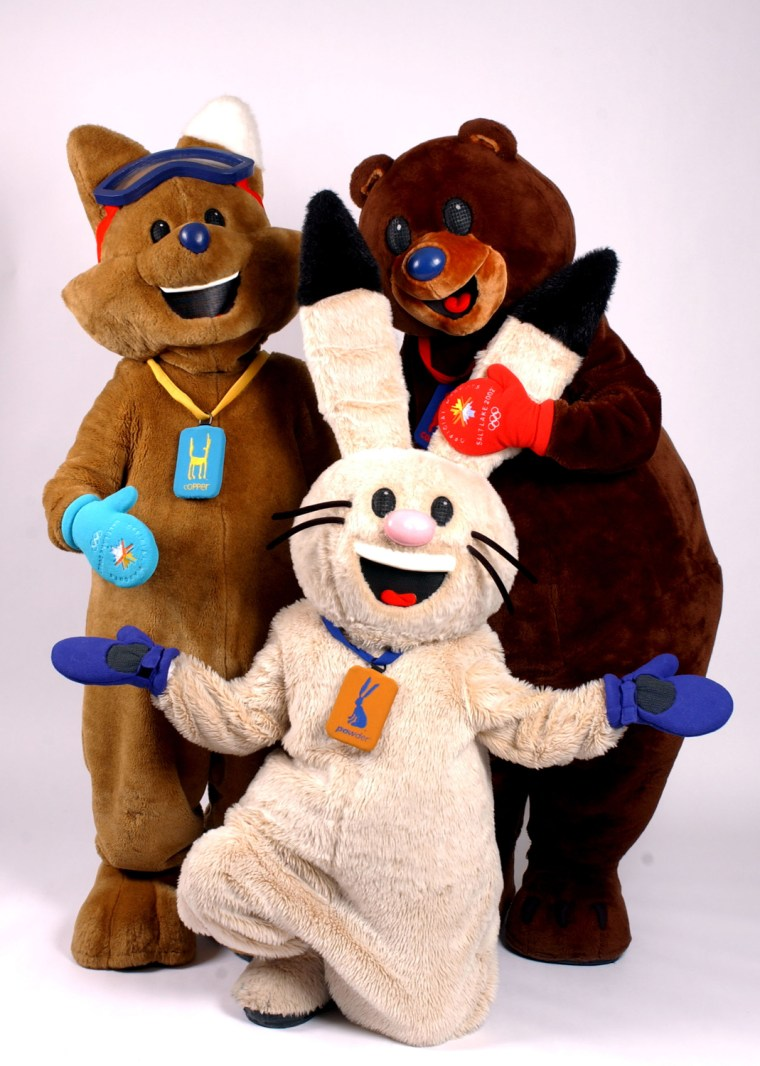 15 Jan 2002:  Mascot Copper, Powder and Coal of the 2002 Winter Olympic Games photographed in Ogden, Utah.