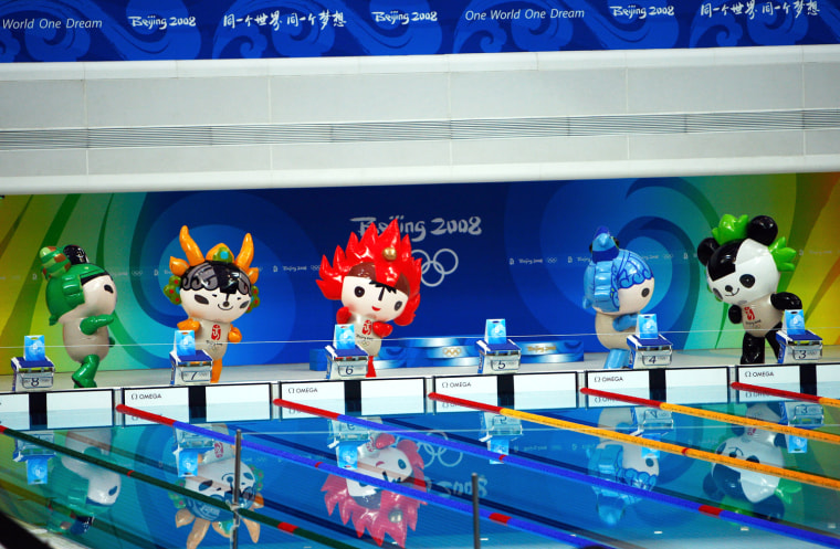 Olympic mascots are seen in the pool at the National Aquatics Center during day 3 of the Beijing 2008 Olympic Games on August 11, 2008 in Beijing, China.