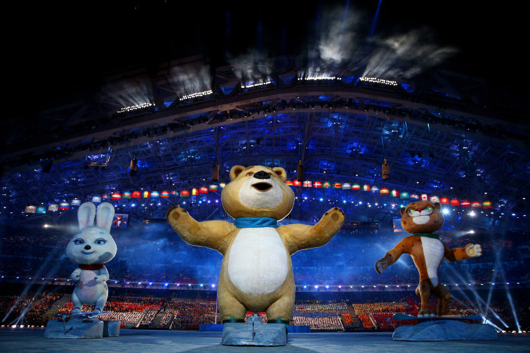 Olympic mascots the Hare, the Polar Bear and the Leopard wave during the Opening Ceremony of the Sochi 2014 Winter Olympics at Fisht Olympic Stadium on February 7, 2014 in Sochi, Russia.