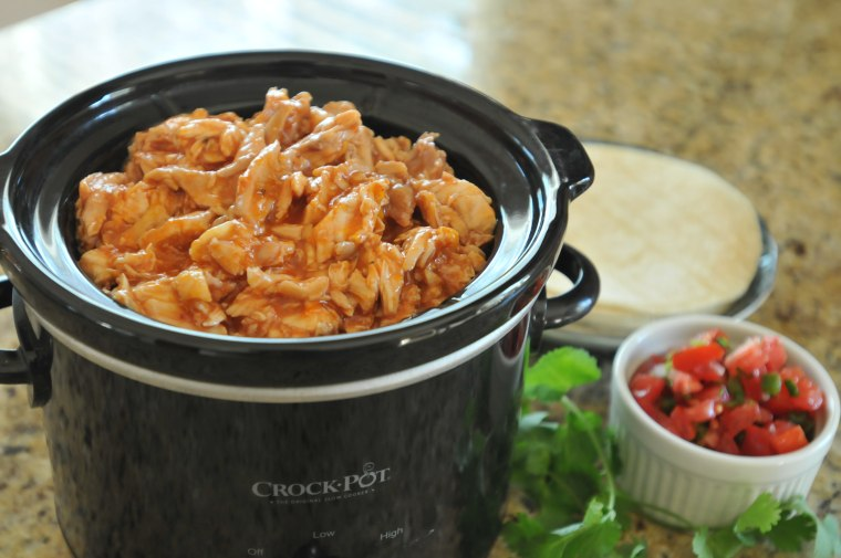 chicken tacos made in slow cooker