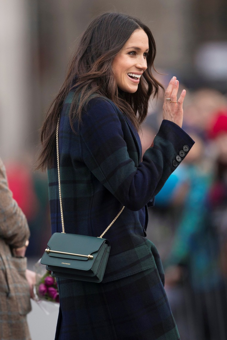 Meghan Markle arrives for a walkabout on the esplanade at Edinburgh Castle, Britain, February 13, 2018.