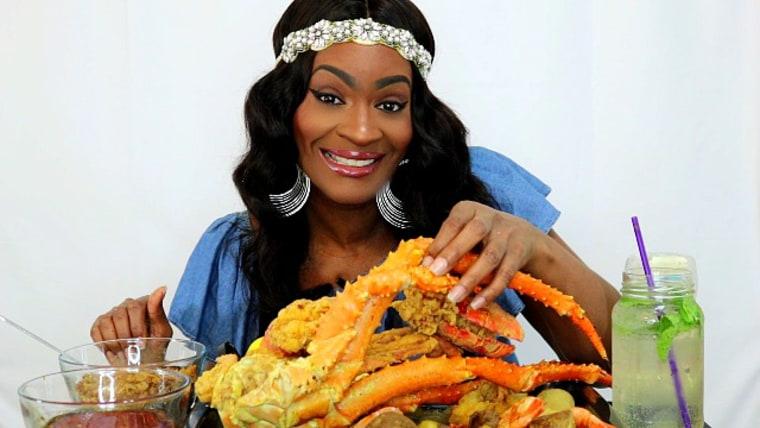 Christi Caston seafood boil mukbang video