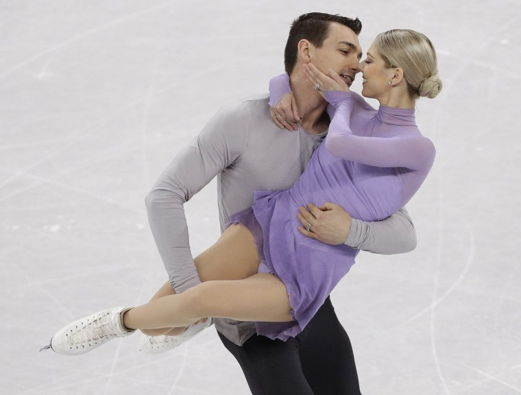 Alexa Scimeca Knierim and Chris Knierim of the USA perform in the pairs free skate figure skating final in the Gangneung Ice Arena at the 2018 Winter Olympics in Gangneung, South Korea, Thursday, Feb. 15, 2018.