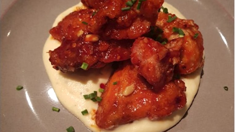 Korean Sweet and Sour Fried Chicken with Mashed Potatoes