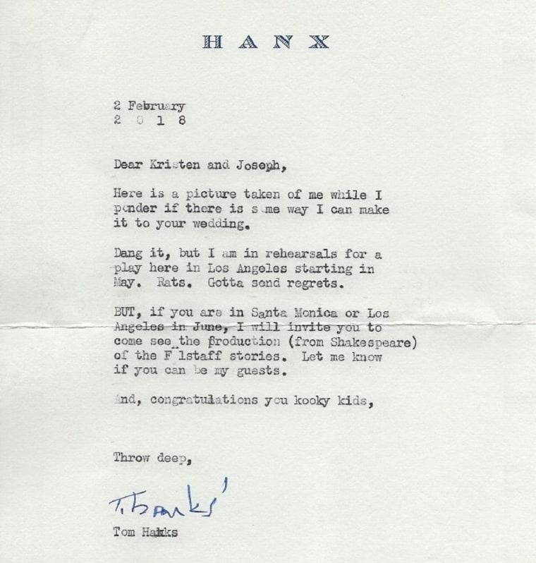 Tom Hanks, wedding invitation.