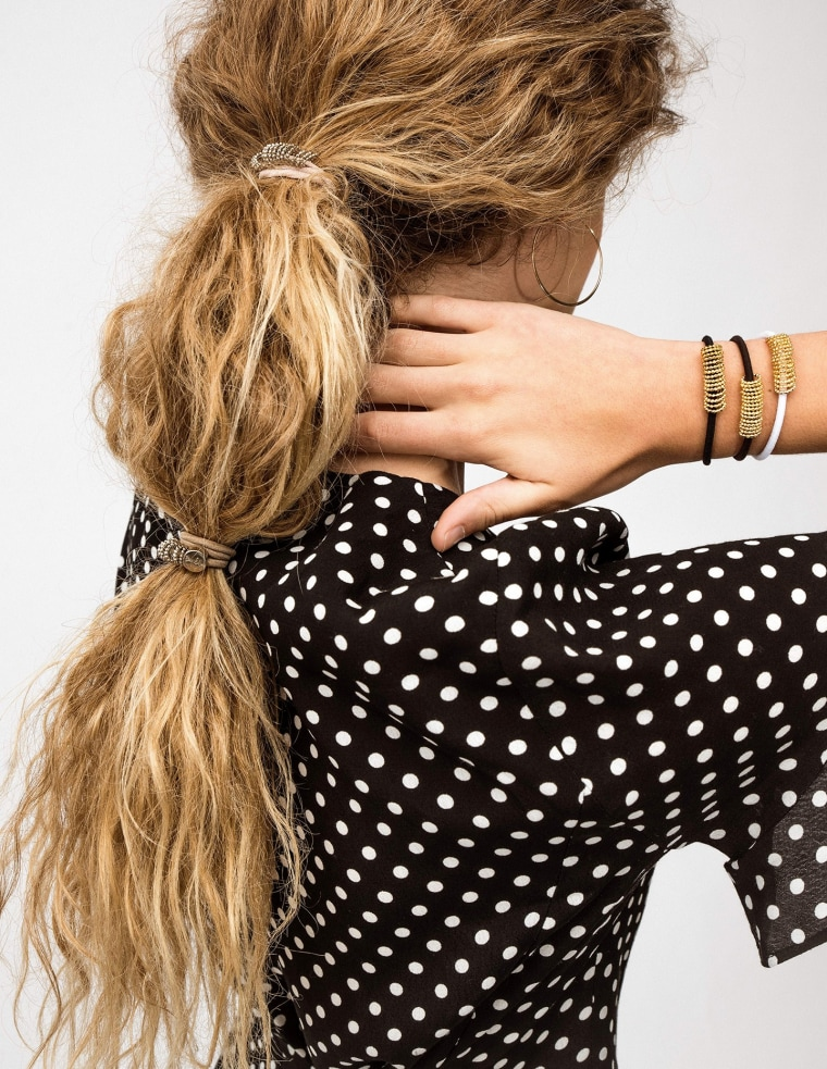 Woman wearing hair ties