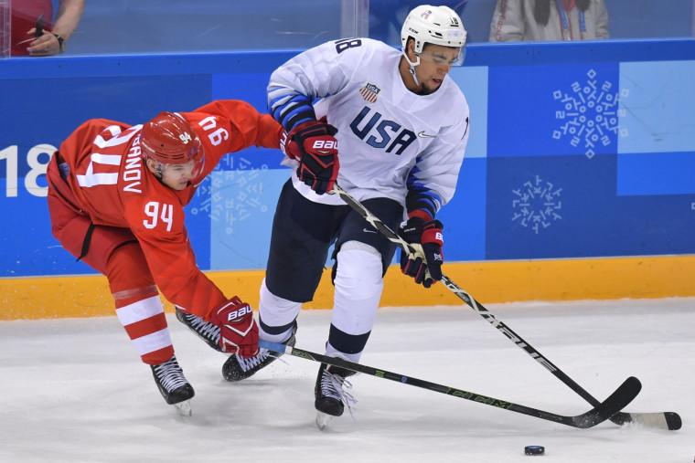 Olympic hockey Russia v. USA - Jordan Greenway