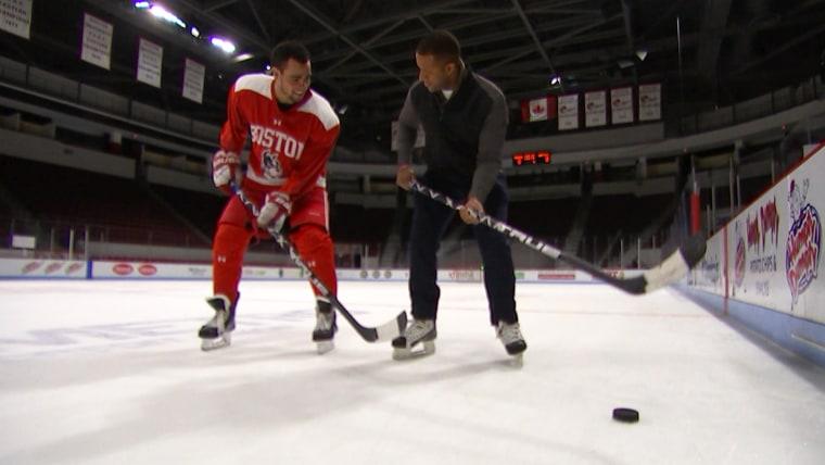 Craig Melvin takes on Olympic ice hockey forward Jordan Greenway.