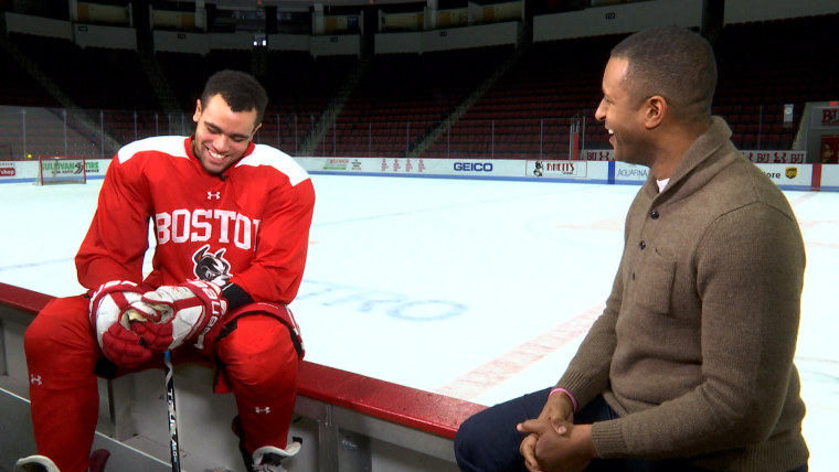Craig Melvin interviews Jordan Greenway, the first African American Olympic hockey player on Team USA