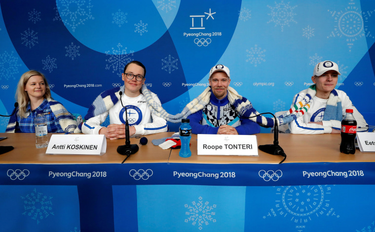 Members of the Finland Olympic team attend a news conference regarding the knitting project in Pyeongchang
