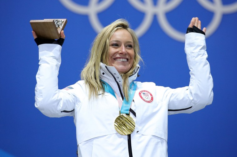 Jamie Anderson at the medal ceremony for women's slopestyle