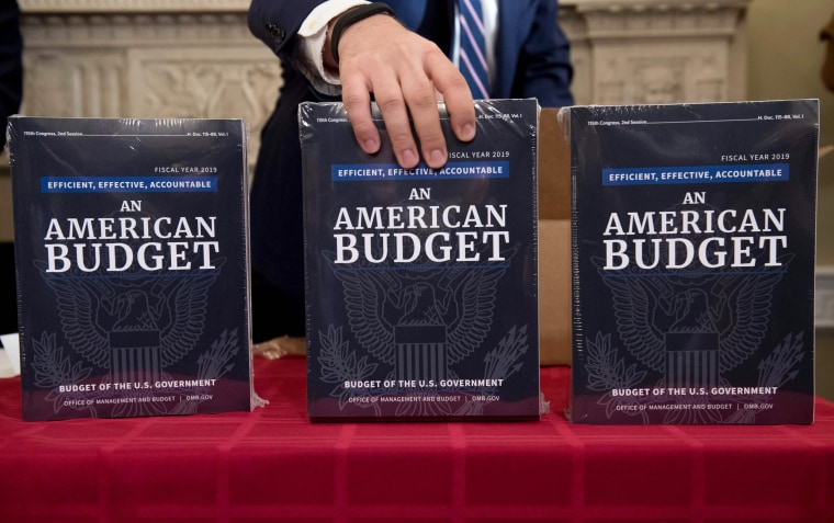 Image: A Congressional staff member delivers copies of the government budger