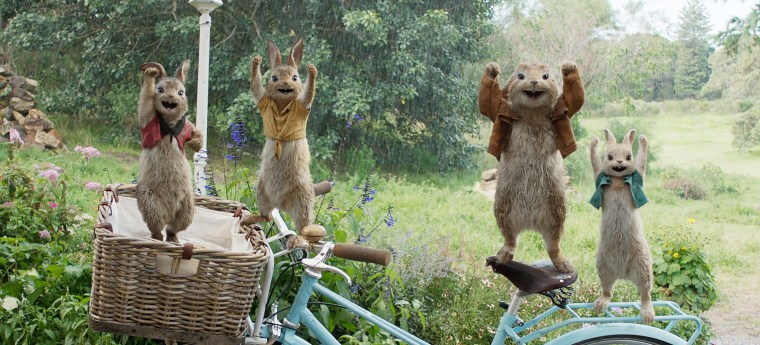 "Image: Flopsy, Mopsy, Benjamin and Cottontail in the movie ""Peter Rabbit"""