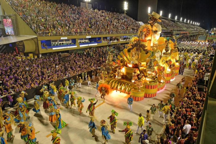 The Paraiso do Tuiuti samba school performs during the first night of Rio's Carnival at the Sambadrome in Rio de Janeiro on Feb. 12, 2018.