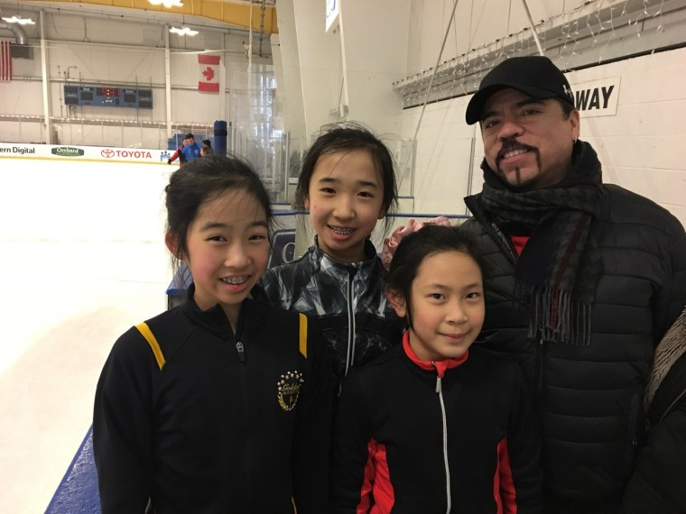 Rudy Galindo with young figure skaters, (l-to-r) Ariana Lee, Kate Qian, and Elizabeth Ho.