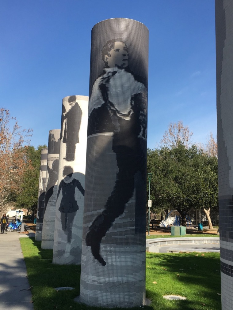 "A likeness of Rudy Galindo is part of the ""Five Skaters"" art piece, honoring the sport of figure skating, outside the SAP Center in San Jose, CA."