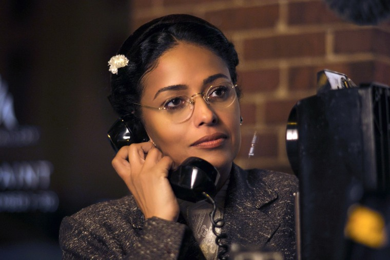 "Image: Meta Golding as Rosa Parks in a scene from ""Behind The Movement"""