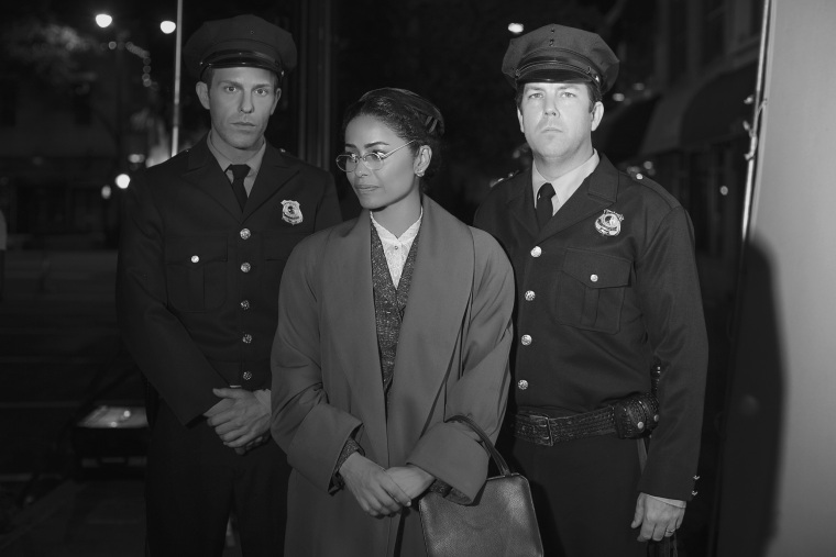"Image: Meta Golding as Rosa Parks in the movie ""Behind The Movement"""