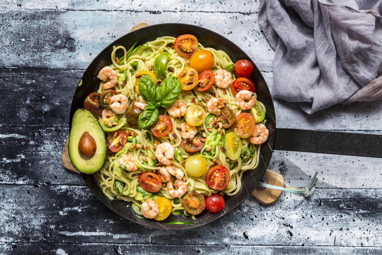 Image: Frying pan of spaghetti with zoodles, guacamole, tomatoes and shrimps