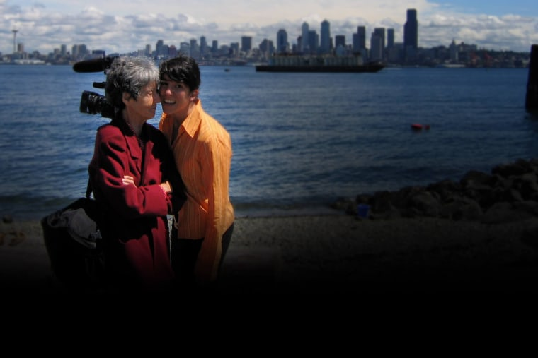 Maria Irene Fornes and filmmaker Michelle Memran in Seattle, 2005.