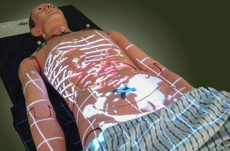 Image: Two dimensional data displayed on the torso of a medical mannequin
