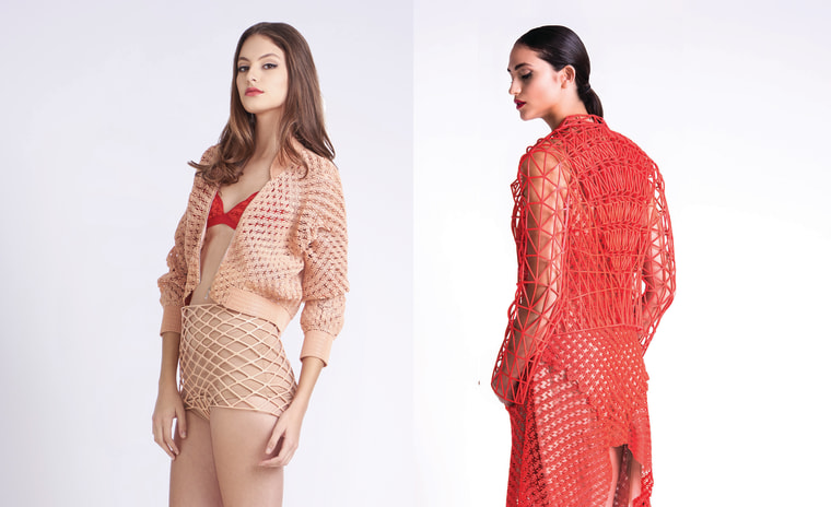 A 3D printed bomber jacket and dress by Danit Peleg.
