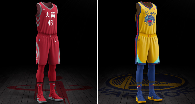 Image: Houston Rockets and Golden State Warriors special jerseys.