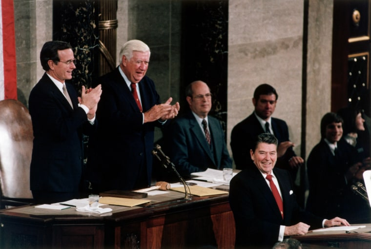 Image: President Ronald Reagan presents his State of the Union address on Jan. 25, 1984. Behind him are Vice President George Bush and Congressman Tip O'Neill.