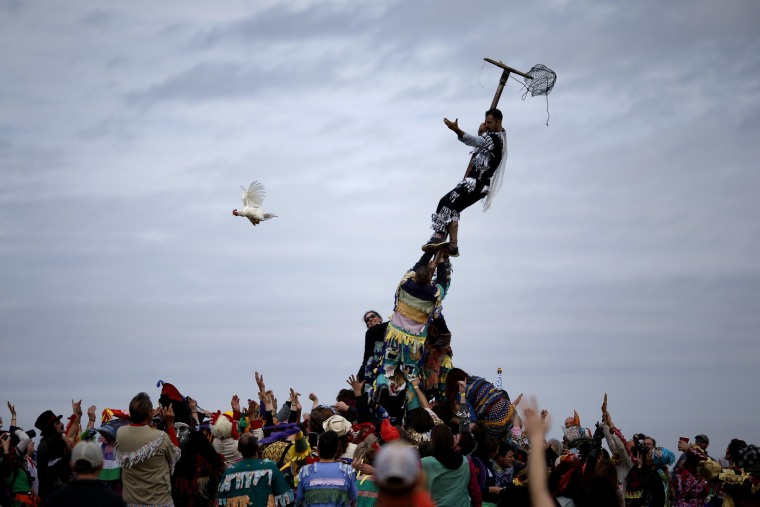 Image: A reveller releases a chicken from a cage after climbing a greased pole during the Faquetaique Courir de Mardi Gras celebration in Eunice