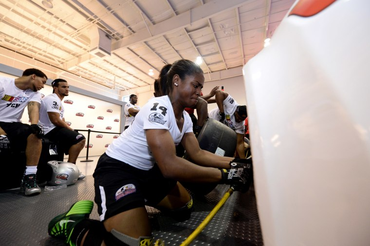 Image: Brehanna Daniels during the D4D Pit Crew Combine at NASCAR Research and Development Center on May 27, 2016 in Concord, North Carolina.