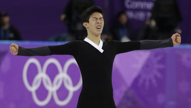 Nathan Chen of the United States reacts following his performance during the men's free skate in the Gangneung Ice Arena at the 2018 Winter Olympics in Gangneung, South Korea, Saturday, Feb. 17, 2018.