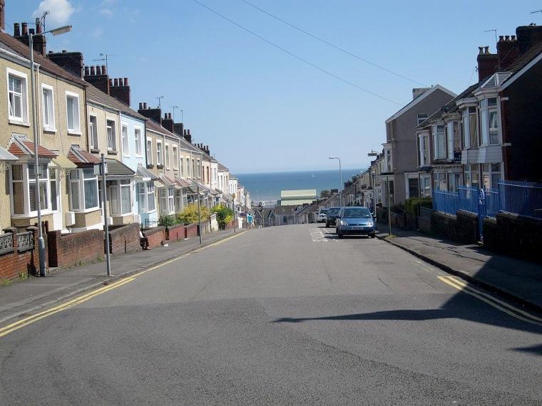 Image: A street in Brynmill, Swansea, UK.