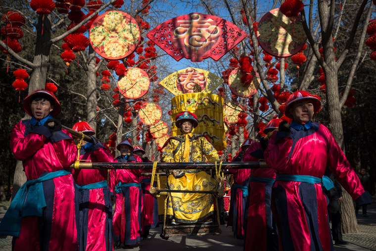 Image: The Chinese Lunar New Year, or Spring Festival, performance rehearsal at Ditan Park