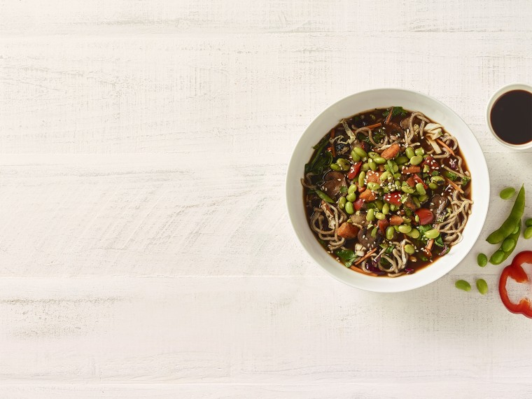 Soba Noodle Broth Bowl with Edamame