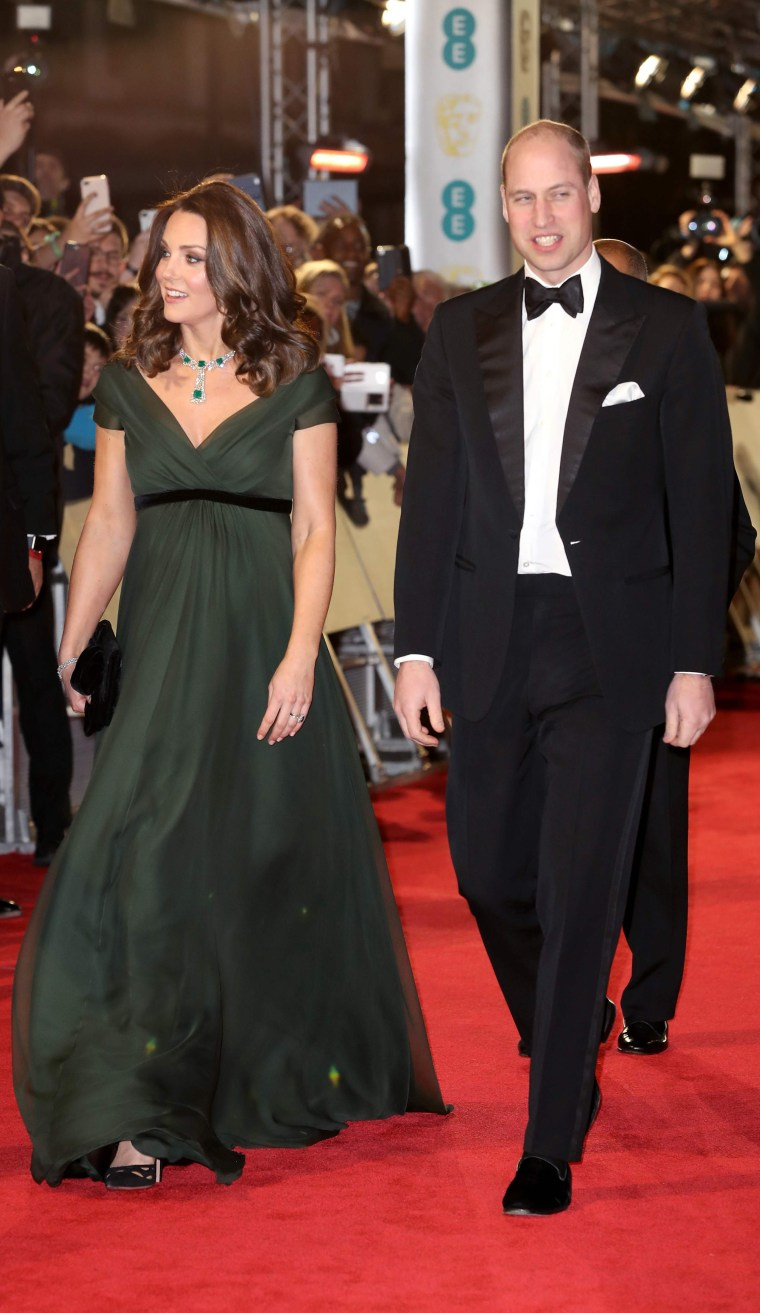 Former Kate Middleton wears green dress to the BAFTAs