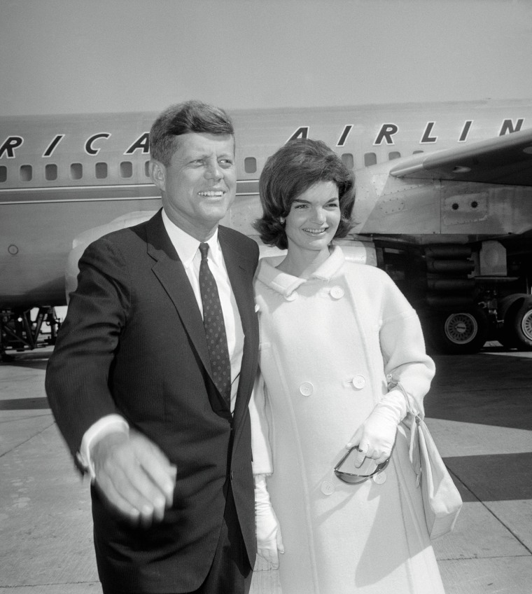 Portrait of John F Kennedy with Wife Jackie at Idlewild Airport